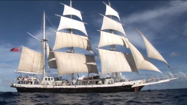 Stewart Colley arrives in London after sailing across the North Atlantic in a square rigger