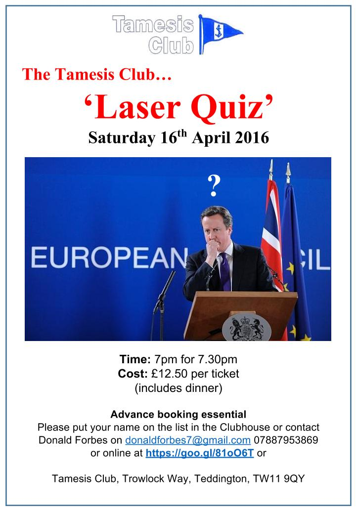 Fiendishly difficult questions at Laser Quiz