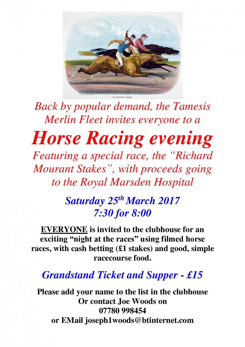Sat 25 Mar Successful Race Night
